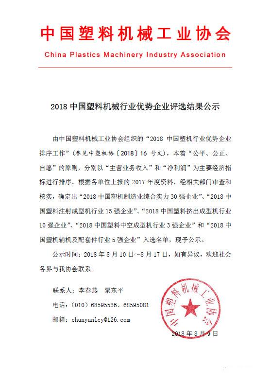 2018中国塑料机械行业优势企业评选结果公示